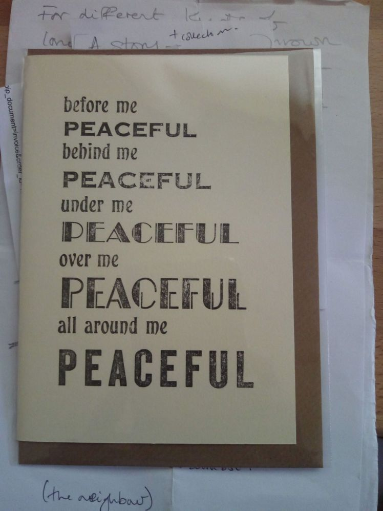 'Peaceful' card handcrafted by ink and page. https://inkandpage.co.uk