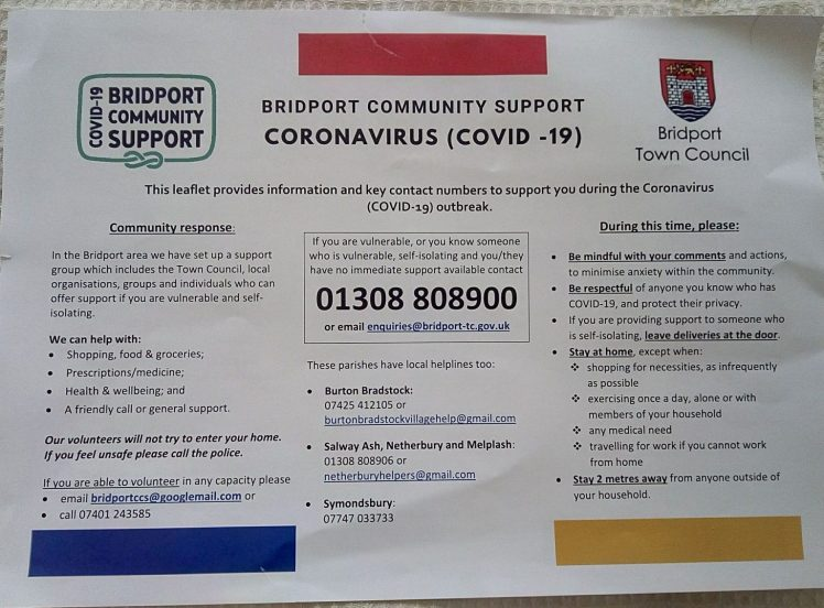 Bridport CV leaflet front